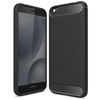 Shell para Xiaomi Mi 5c Case Protection TPU Slim Armor Carbon Fiber Black