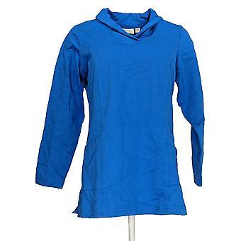 Denim & Co. Frauen's Aktive stricken Langarm Schal Top blau A237300