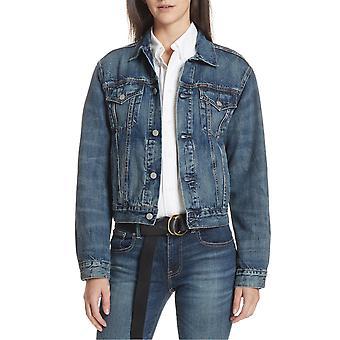 Ralph Lauren Ezcr012023 Women's Blue Cotton Overtøjsjakke