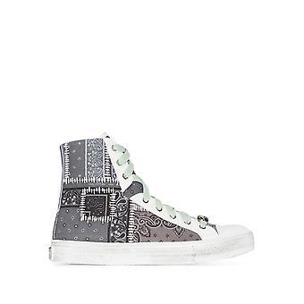 Amiri Y0f22498ccblk Men's Grey Cotton Hi Top Sneakers