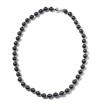 GP Bead Strand Shungite Necklace Sterling Silver Blue Sapphire, 134.03 Ct