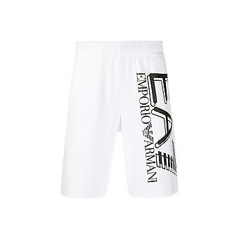EA7 by Emporio Armani Cotton Printed Logo White Shorts