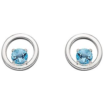 Elements Silver Round Topaz Earrings - Silver/Blue