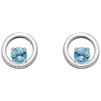 Elementen Zilver Ronde Topaas Oorbellen - Zilver/Blauw