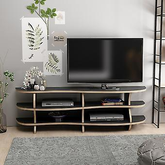 Mobile Porta TV Lykos Color Nero, Noce in Truciolare Melaminico 136x33x42 cm