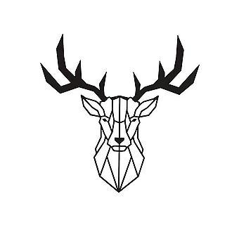 Decorazione Da Parete Deer Color Nero in Acciaio 51x0,15x51 cm
