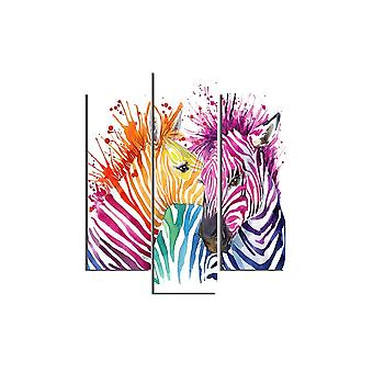 Zebra 559 Veelkleurig schilderij in MDF, L19xP0.3xA50 cm (2 stuks), L19xP0.3xA60 cm (1 Stuk)