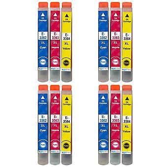 4 Sæt med 3 blækpatroner til udskiftning af Epson T3357 (33XL-serien) C/M/Y-kompatibel/ikke-OEM fra Go-blæk (12 blæk)