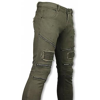 Biker Jeans - Slim Fit Zipped Biker Jeans With Paint Drops - Groen