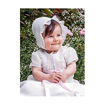 Christening Gown With Short Sleeves, In Off White Linen With Bonnet.  Tr.a.k