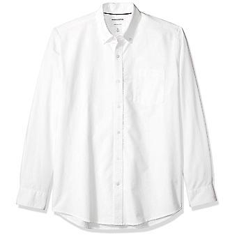 Essentials Men's Regular-Fit Langarm Solide Tasche Oxford Shirt, Wh...