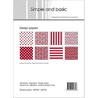 Simple and Basic Dark Red 2 A6 Paper Pack