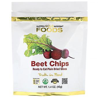 California Gold Nutrition, Beet Chips, Ready to Eat Plain Dried Slices, 1.4 oz (