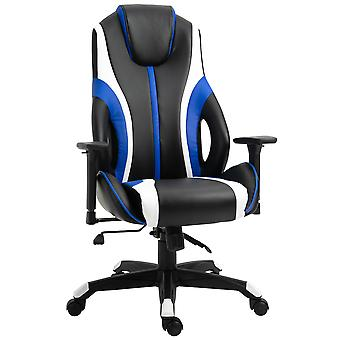 Vinsetto Stylish Striped PU Leather High Back Office Chair w/ Rotating Armrests Reclining Back Adjustable Height 360° Swivel White Blue Black
