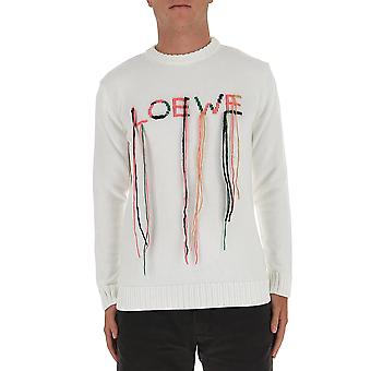 Loewe H526333x852059 Men's White Cotton Sweatshirt