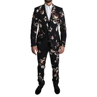 Black floral slim 3 piece martini suit