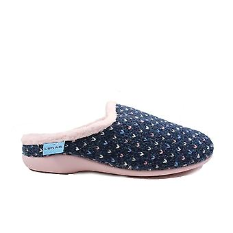 Lunar Whisper Blue Textile Womens Mule Slippers