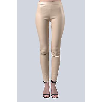 Sam-rone Women's Ivory Leather Leggings