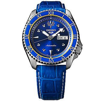 Seiko 5 Sports Street Fighter Chun Li Blue Dial Blue Leather Strap SRPF17K1 Mens Watch