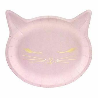 Pink Cat Kitten Hârtie Party Plăci 22cm x 6