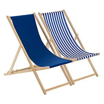 Traditional Adjustable Beach Garden Deck Chairs - Navy / Stripe