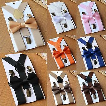 Adjustable And Elasticated Kids Suspenders With Bowtie For Girl, Boys