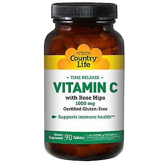Country Life vitamine C met RH & TR, 1000 MG, 90 Tabs