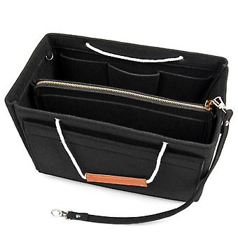 Zak insert met handvat voor handtas Zwart (M)