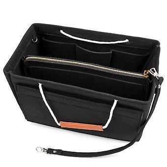 Bag insert with handle for handbag Black (M)