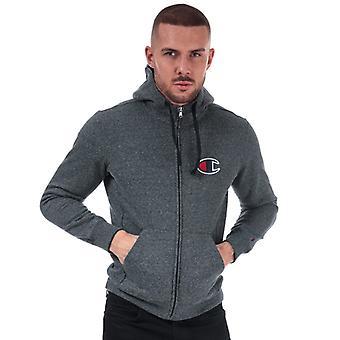 Men's Champion Suede C Logo Zip Hoody in Grey