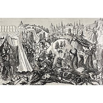 Po bitwie pod Hastings 1066 14 października krewnych pokonanych odchodzić do przenoszenia swoich zmarłych od wojskowych i religijne życie w średniowieczu przez Paul Lacroix opublikowane Londyn około 18
