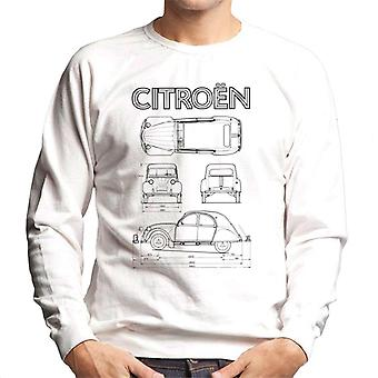 Citro�n 2CV Black Diagram Views Men's Sweatshirt