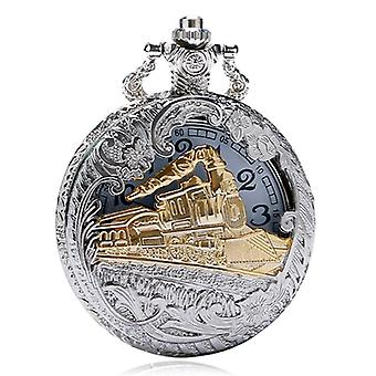 Deffrun Vintage Style Silver Case Watch 3D Design Cover Pocket Watches