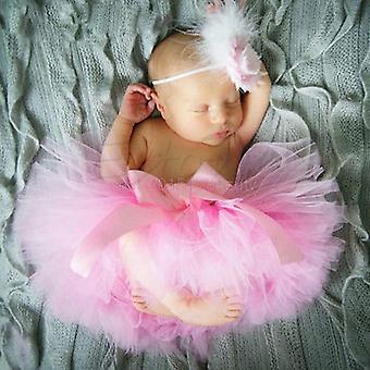 Baby Tutu Roupas Saia Flor de Cocar Recém-Nascido