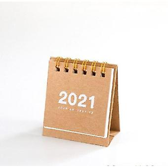 2021 Kraft Paper Daily Planner, Desktop Mini Coil Calendars
