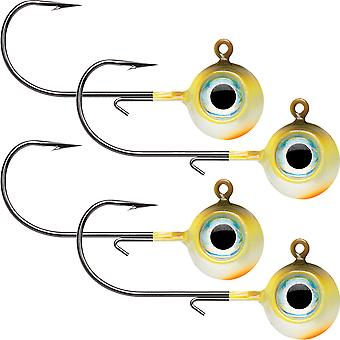 VMC Neon Moon Eye 1/8 Oz. 3D Holographic Jig - 4 Pack - Yellow Perch