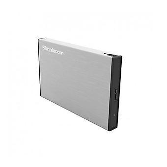 Simplecom Se218 Aluminium Tool Free Sata Hdd Ssd To Usb 3 Enclosure Silver