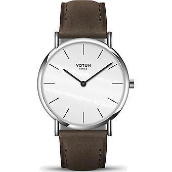 VOTUM - Unisex watch - SLICE - Pure - V04.10.20.03 - leather strap - dark brown