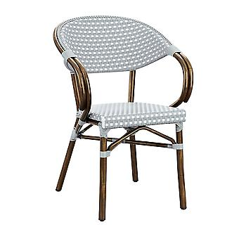 Parlance Stacking Armchair - White & Pacific Blue Weave