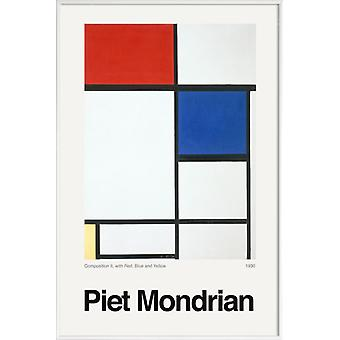 JUNIQE Print - Mondrian - Composition II, with Red, Blue and Yellow - Piet Mondrian Poster in Blau & Rot