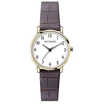 Accurist 8371 Klasické zlaté a hnědé kožené dámské hodinky