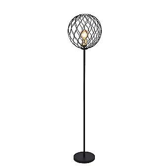 Searchlight Finesse 1 Lampa podłogowa z falistym barem - czarny ze złotymi oprawkami