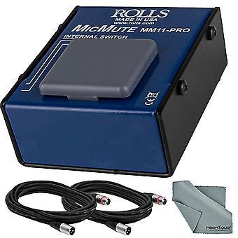 Rullar pro switchbar mikrofon ljud av / prata professionell mikrofonbrytare och tillbehör bunt w / xpix xlr kablar + fibertique trasa