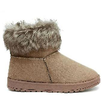 Ladies Faux Fur Flat Warm Ankle Boots for Women in Taupe