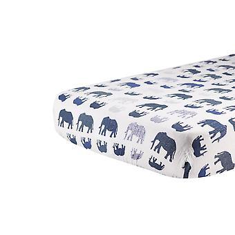 Sábana de cuna muslina de algodón elefante azul