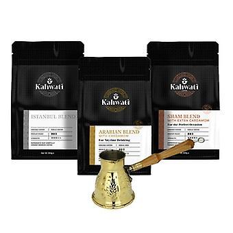 Kahwati Coffee Starter Pack- Hand Made Copper Pot - Sham Blend 250g- Arabian Blend 250g -istanbul Blend 250g