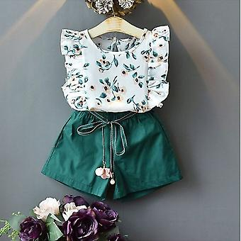 Baby  Summer Clothes, O-neck Flower Sleeveless High Waist Tops And Shorts