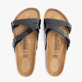 Birkenstock Yao Balanse 1016354 (reg) Ladies Birko-flor Patent To Stropp Sandaler Svart