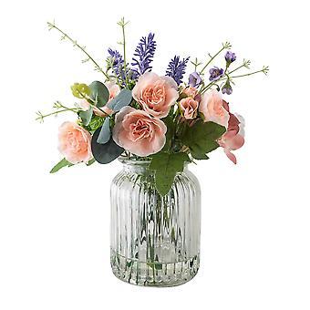 Faux Floral Arrangement in Clear Textured Glass Vase