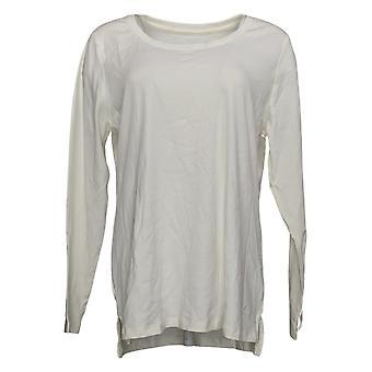 Isaac Mizrahi Live! Women's Top Pima Cotton Hi-Low Hem Knit Ivory A389762